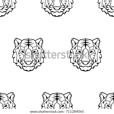 Geometric polygon white tiger head, triangle pattern design, vec stock photo © BlueLela