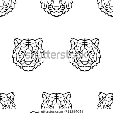 mértani · poligon · fehér · tigris · fej · háromszög - stock fotó © BlueLela