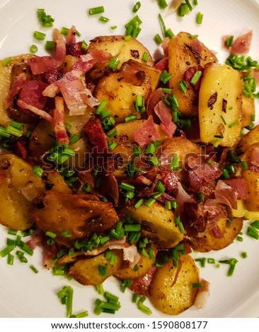 hash meat with bacon and potatoes Stock photo © phbcz