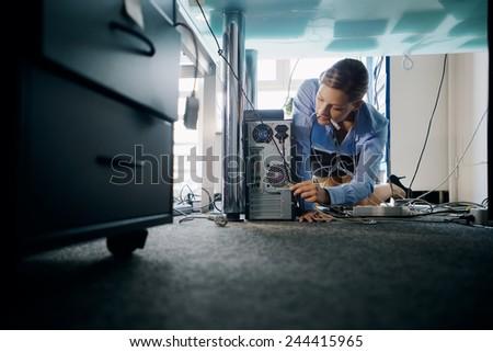 сложность · женщину · Plug · кабеля · компьютер · бизнеса - Сток-фото © diego_cervo
