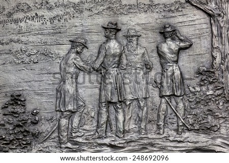 General Sherman Civil War Memorial Bronze Bas Relief Marching Th Stock photo © billperry