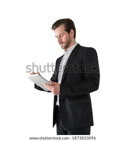 işadamı · yalıtılmış · beyaz · bilgisayar · Internet - stok fotoğraf © deandrobot