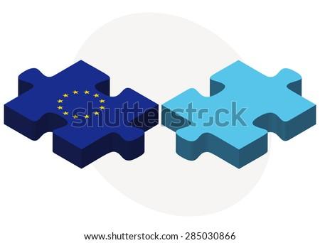 Europeu união Fiji bandeiras quebra-cabeça isolado Foto stock © Istanbul2009