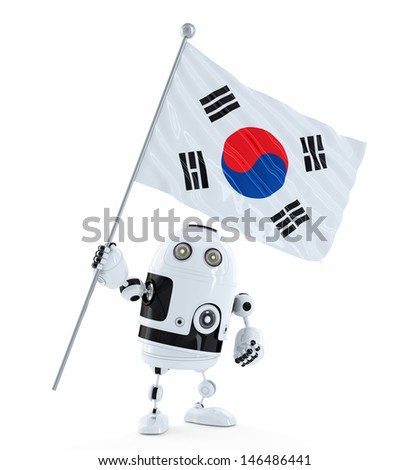 android robot standing with flag of south korea isolated contains clipping path stock photo © kirill_m
