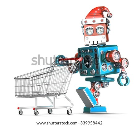 Stock fotó: Klasszikus · robot · mikulás · bevásárlókocsi · izolált · vágási · körvonal