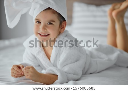 smiling beautiful woman and little girl bathes in pool in aquapa stock photo © paha_l