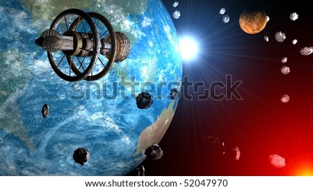 Spaceship flight through asteroids field between Earth and Venus, Sun system Stock photo © sebikus