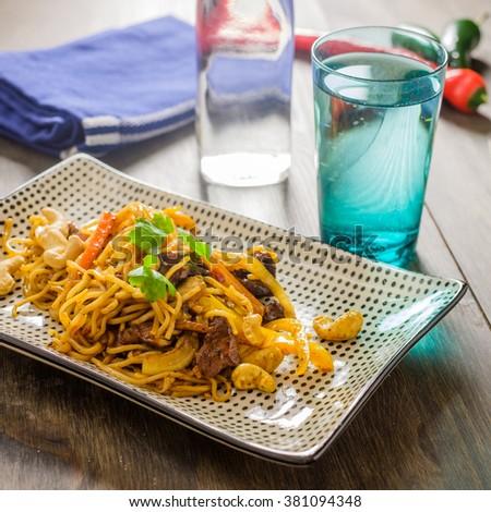 wok · fából · készült · konyha · pad · étel · fém - stock fotó © phila54