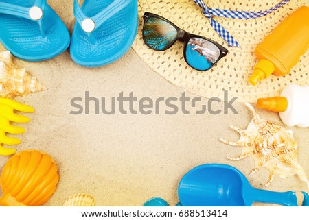 Beach ready, summer holiday vacation accessories on sandy beach Stock photo © stevanovicigor