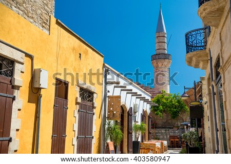 limassol old town street leading to the great mosque cami kebi stock photo © kirill_m
