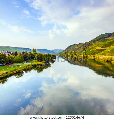 vineyards at the hills of the river Mosel edge in summer with fr Stock photo © meinzahn