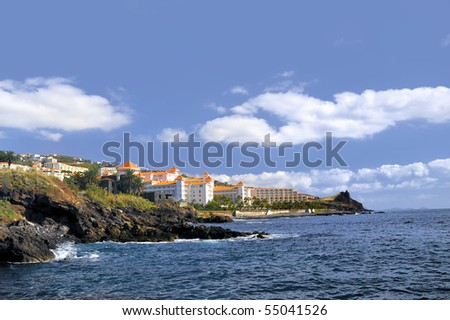 Resort by a rocky beach in Canico de Baixo, hotel Oasis Atlantic, Madeira. Stock photo © brozova