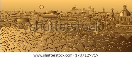 Vintage panorama of Rome, Italy. As seen from Castel Sant'Angelo. Stock photo © photocreo