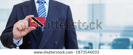 Credit card with Trinidad and Tobago flag background for bank, presentations, business. Isolated on  Stock photo © tkacchuk