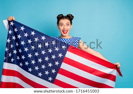 Proud American patriot wearing white shirt with USA flag print Stock photo © stevanovicigor