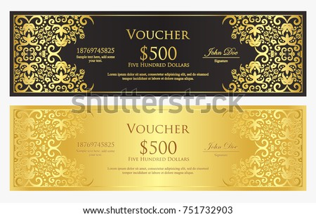 Stock photo: Vintage black gift certificate with golden and silver lace decoration