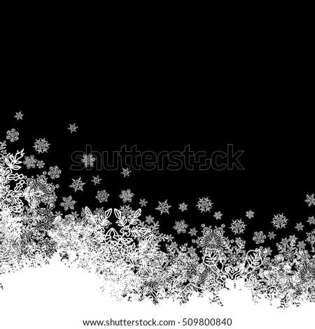 Snowflakes white border silhouette. Bottom line. Isolate on blac Stock photo © pashabo