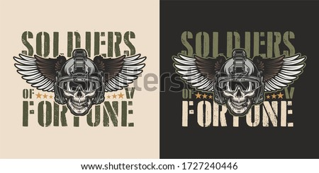 war emblem. Military logo. Skull wearing a helmet with a weapon  Stock photo © popaukropa