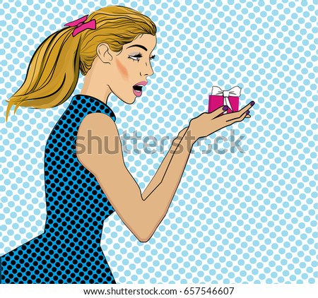 surprised pop art woman that holds a gift in their hands comi stock photo © balasoiu