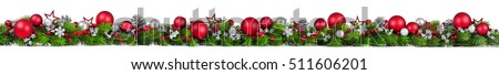 merry christmas frame with green pine colorful baubles and wooden background stock photo © davidarts