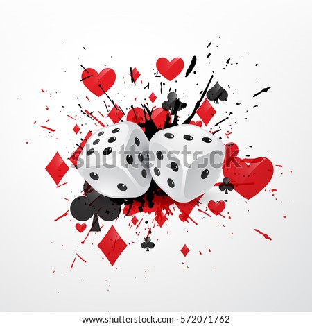 abstract dice background with splatter and playing card symbols stock photo © sarts