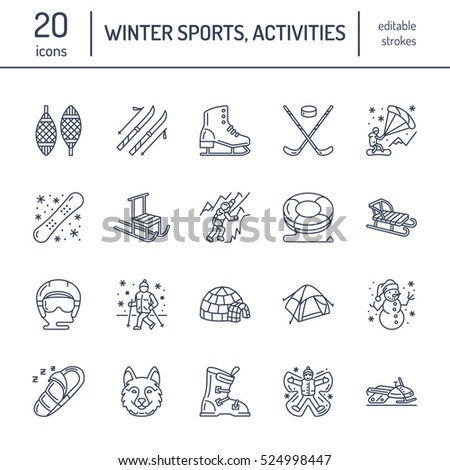 Cute thin line icons of winter sports. Outdoor activities vector Stock photo © Nadiinko
