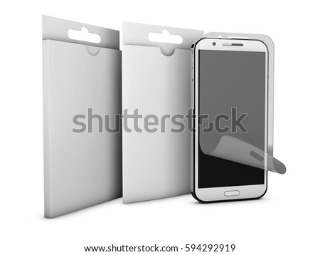 Screen protect Glass and product box. Mobile accessory. 3D illustration Stock photo © tussik