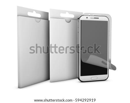 képernyő · védelmez · üveg · termék · doboz · mobil - stock fotó © tussik