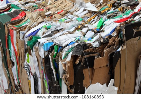 Pressed boxes made of paperboard prepared for recycling on woode Stock photo © smuki