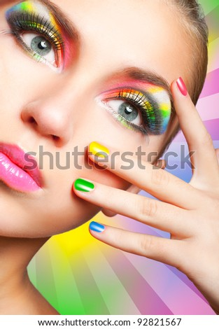 beauty woman with creative make up, many fingers on face close u Stock photo © iordani