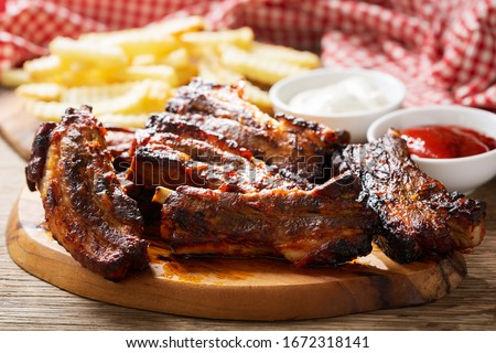 Grilled pork ribs on the grill Stock photo © smuki