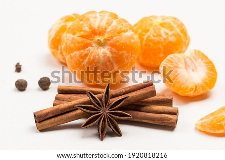 Star anise, cinnamon sticks and tangerine peel - herbs and spice stock photo © shutter5
