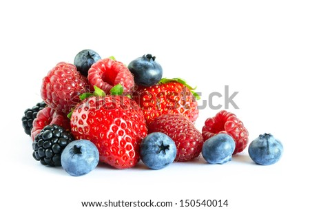 fresh berries on white backgroundstrawberryblueberryblackberry stock photo © m-studio