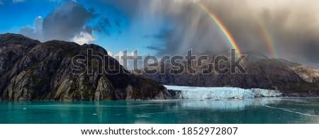 Szivárvány ősz szín hegyek gleccser park Stock fotó © cboswell