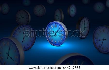 lifetime. Infinity and time. Many blue circular clock. 3D illust stock photo © grechka333