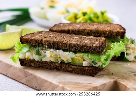 Avocado, cream cheese and boiled eggs on wholemeal bread - shallow dof  Stock photo © danielgilbey