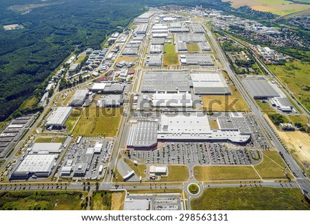 Aerial view of industrial cityscape with factory buildings, dron Stock photo © stevanovicigor