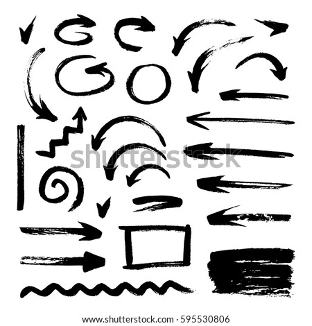 Painted arrows. Different shapes from brush strokes, Vector arrow grunge set Stock photo © Andrei_