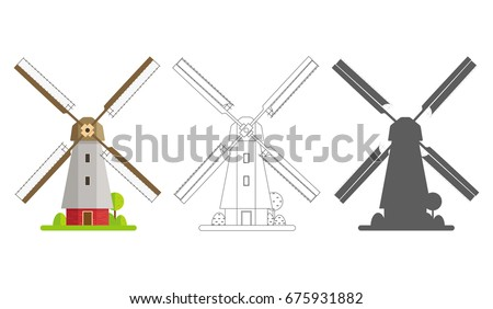 Vector flat style illustration of wind mill on colorful field. Stock photo © curiosity