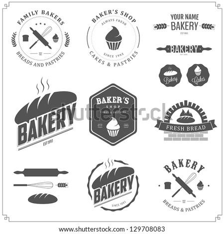 Boulangerie magasin emblème étiquettes conception de logo Photo stock © Leo_Edition
