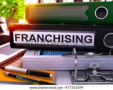 black office folder with inscription franchising 3d illustration stock photo © tashatuvango