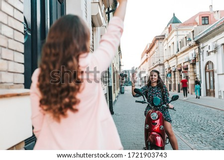 Portrait of happy friends enjoying while sitting in motor home Stock photo © wavebreak_media
