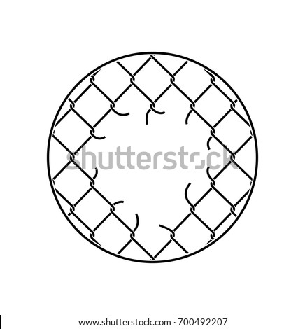 Mesh netting Torn. Rabitz  with hole. Mesh fence Ripped backgrou Stock photo © popaukropa