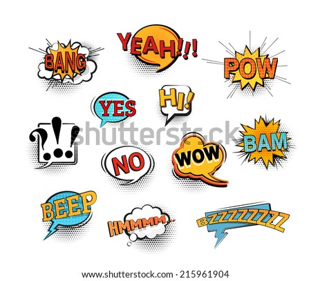comic speech bubbles set with different emotions and text boom stock photo © pashabo