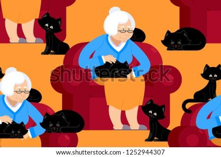 Gato senhora padrão avó sessão cadeira Foto stock © popaukropa