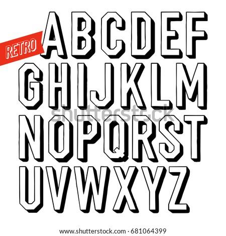 Handmade retro font. Black letters on white background. Sans ser Stock photo © pashabo