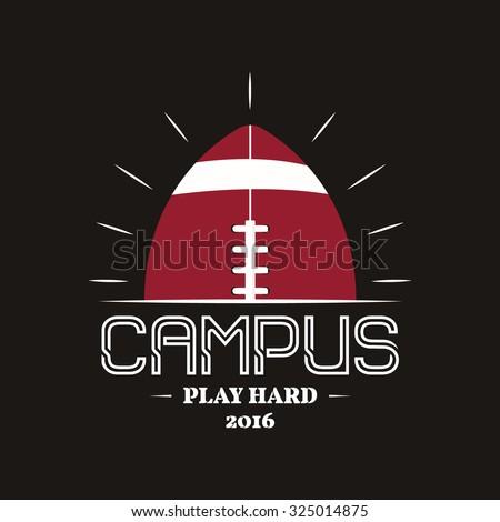 Amerikaanse voetbal campus embleem label Stockfoto © JeksonGraphics