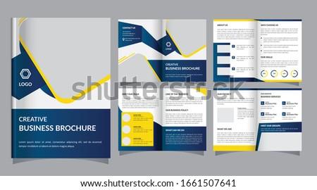bi fold business brochure design template leaflet magazine cover Stock photo © SArts