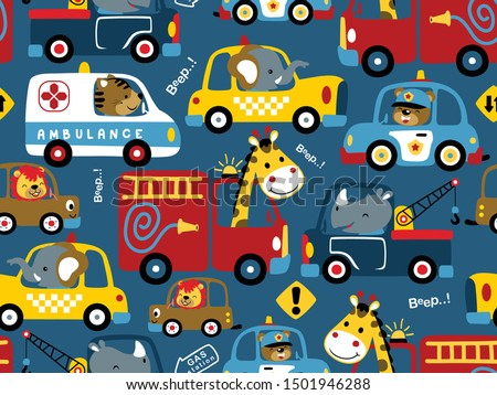 Car cartoon seamless pattern. Fire engine and police car. ambula Stock photo © MaryValery