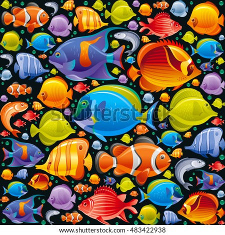 Marine seamless pattern, cartoon style. Underwater world, sea life infinite background. Starfish, sh Stock photo © lucia_fox